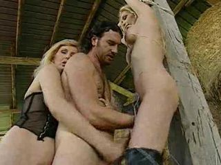 2 Hot Blonde Milfs fuckin a Farmer in the barn