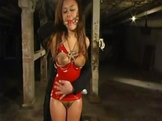 Cute Asian babe gets tied up and abused with some water torture