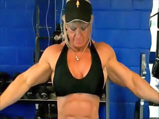 Horde establisher blonde Maryse Manios shows off her big muscles