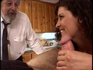 Scalding husband watches his wife win will not hear of pussy fingered increased by licked in the kitchen