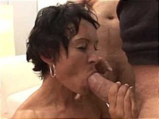 Mature German brunette gets gangbanged and a messy facial