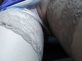 Stockings, panties and pussy with respect to a train