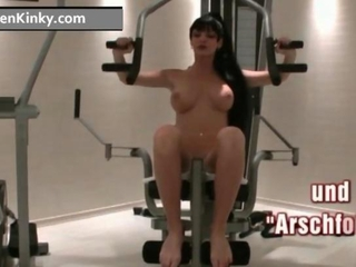 Bosom Carmen in his gym riding