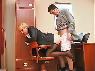 secreter get feet licking added to footjob nearly office