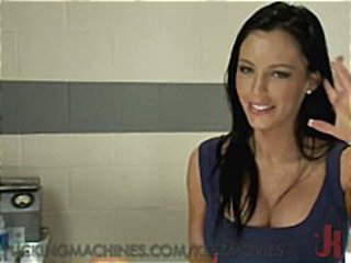 Busty brunette is getting fucked by machines making her squirt