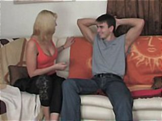 Horny blonde mom gets stripped and hammered by young neighbor boy
