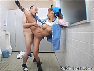 Asian Clothed Daddy Japanese Old and Young Public Teen Toilet Uniform