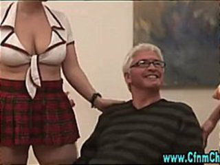 Cfnm babes get naughty with old guy
