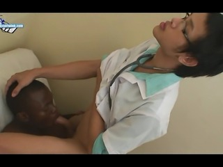 The Asian porn doctor starts out easy with a check of Erics vital signs. Then...