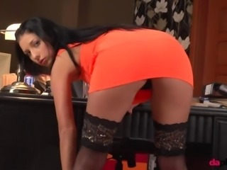 Amazing Ass Brunette Stockings Teen