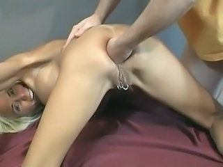 Platinum Blonde getting anal fisted
