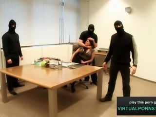 Three horny office sluts get pounded in this interactive pov porn