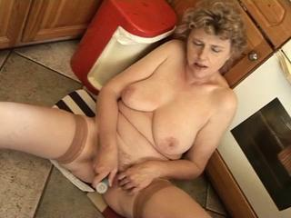 Chubby Kitchen Masturbating Mature Mom  Stockings Toy