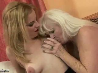 Ugly grandmother appreciating lesbo porn surrounding awesome doll