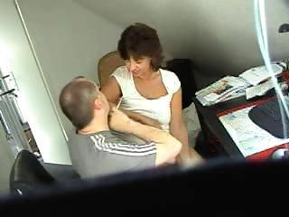 Horny brunette secretary gets caught on spy cam fucking the boss