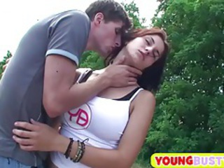 Kissing Outdoor Teen