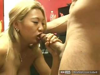 Horrific Asian slut makes perfect blow job to gets powerful sperm load in mouth.