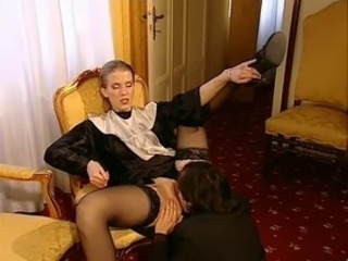 Licking Maid MILF Stockings Uniform