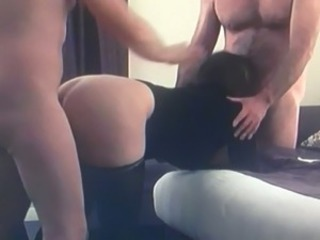 Real wife stockings first threesome.