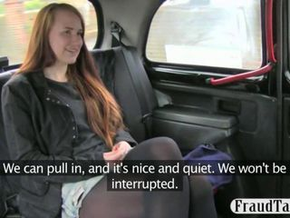Amateur redhead student horny sex in the back of a taxi with the driver for money because she is poor
