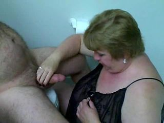 BBW wife sucks hubby cock in a toilet
