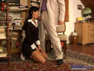 Elis Black is a sweet college student with long brunette hair who took on a part time job at an office. Her boss is a horny dirty old man who keeps touching her until she finally takes off her bra and panties laying back on a chair to give him a