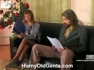 Old and Young Pantyhose Secretary