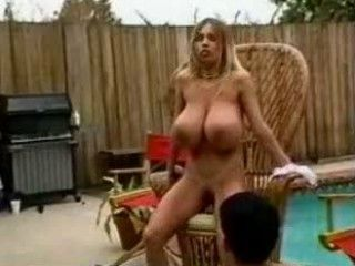 Amazing Big Tits  Outdoor Pool
