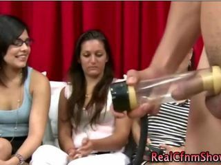 Cfnm babes use masturbation machine on guy and watch him get off