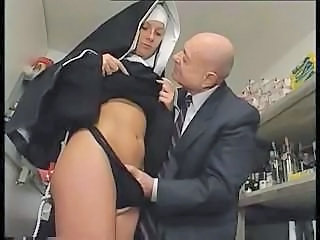 Nun and a dirty old man get to playing around with her pussy