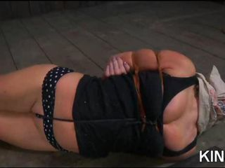 Hot girl gets tied hard and fucked in her wet pussy