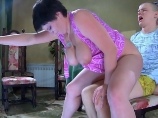 Vigorous mommy together with sizable knockers BJing and fucking the boy