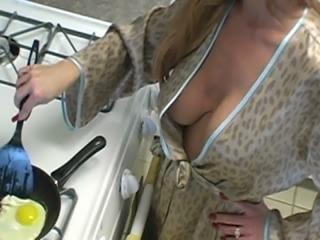 Kitchen Mature Natural Wife