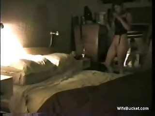 Wife rotates a big dildo and a happy cock