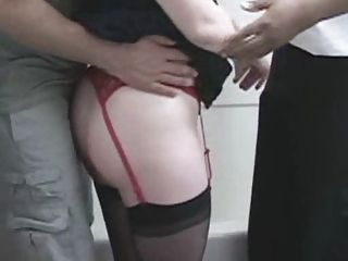 Doggystyle Stockings Threesome Wife