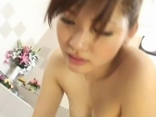 Japanese honey Karin Kusunoki inside the tub fucking the pork dagger