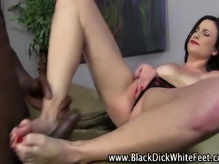 Interracial battle-axe gives fetish hinge move ending with a cumshot