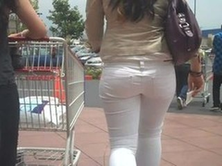 Nice ass And butt in tight white jeans shopping - she is fine