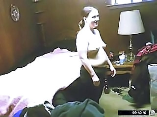 Spying after a damn chubby young bitch as she gets changed