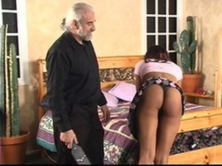 Old guy lifts ebony&#039,s skirt for wild spanking