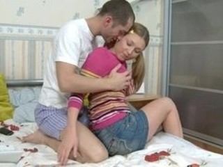 Pigtailed Sarah about hard thang inside her pussy