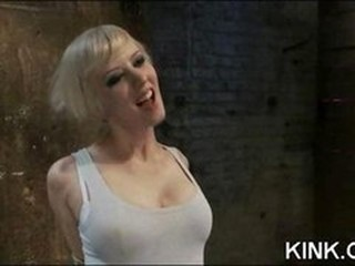Busty hot sexy babe made into obedient slave at spouse training