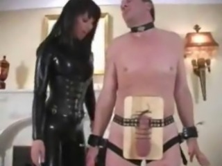 Extreme latex dominatrix bizarre cock and balls torture