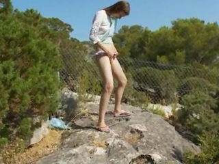 Petite czech girl peeing like a boy