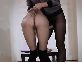 18yo schoolgirl gets fuck from strap aloft
