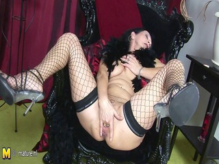 Fishnet Masturbating Mature