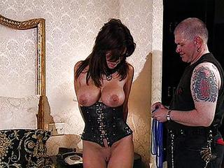 Dominated Brunette Slave Spanked And Bondage