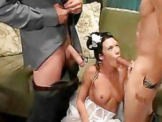 Blowjob Bride  Threesome