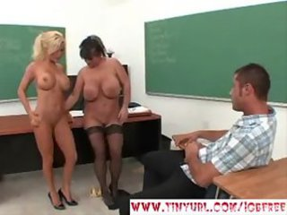 2 hot teachers fuck one lucky student