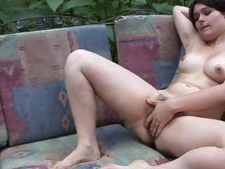 Beautiful hairy woman squirting
